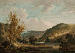 Attributed to Thomas Gainsborough (British, 1727-1788)      Travelers Along a River