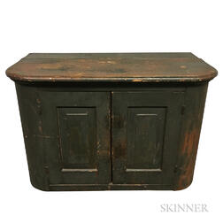 Small Country Green-painted Pine Cupboard