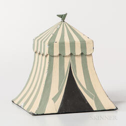 Miniature Green- and White-painted Pasteboard Odd Fellows Encampment Tent