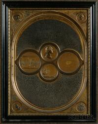 "Pressed Gilt Tin Panel Depicting ""The National Medallion,"""