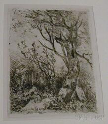 John Crome the Elder (British, 1768-1821) Nine Unframed Landscape Etchings: Deepham, near Hingham, Footbridge at Cringleford, Wicker...
