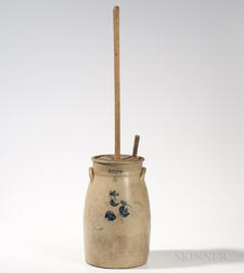 Three-gallon Cobalt-decorated Stoneware Churn