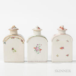 Three Export Porcelain Tea Caddies
