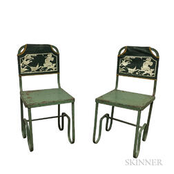 Pair of Steel and Painted Canvas Child's Chairs