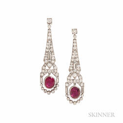 Art Deco Platinum, Ruby, and Diamond Earrings