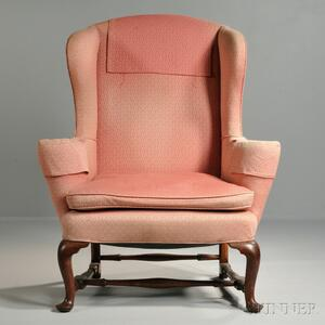 Upholstered Mahogany and Maple Easy Chair