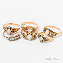 Six Gold and Opal Rings