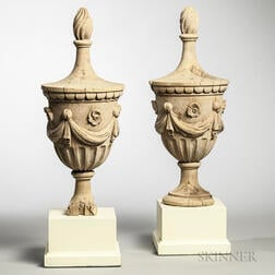 Pair of Carved Urn Architectural Finials