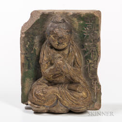 Green-glazed Earthenware Brick with Buddha