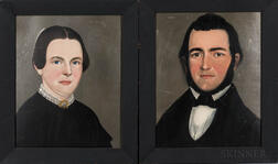 Prior-Hamblen School, Mid-19th Century      Pair of Portraits of a Man and Woman