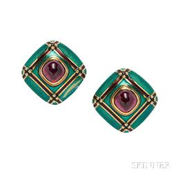 18kt Gold, Rubellite and Enamel Earclips, Mavito