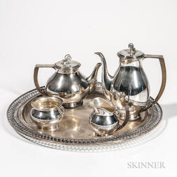 Five-piece Danish Sterling Silver Tea and Coffee Service