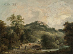 Attributed to Thomas Gainsborough (British, 1727-1788)      Figures on a Bridge
