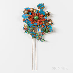 Ornamental Kingfisher Feather and Coral Hairpin