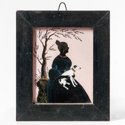 Reverse-painted Silhouette of a Woman Holding a White Dog