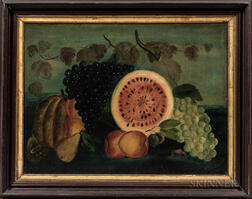 Henry Rehn (American, Late 19th Century)      Still Life with Watermelon and Grapes