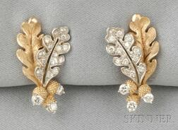 18kt Gold, Platinum, and Diamond Earrings, McTeigue, retailed by Shreve, Crump & Low