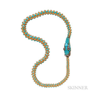 Victorian Gold and Turquoise Snake Necklace