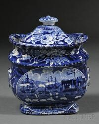 Historic Transfer-decorated Staffordshire Pottery Sugar Bowl and Cover