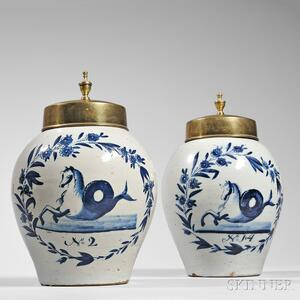 Pair of Blue and White Delft Snuff Jars