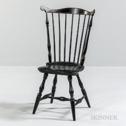 Black-painted and Gilt-striped Fan-back Windsor Side Chair