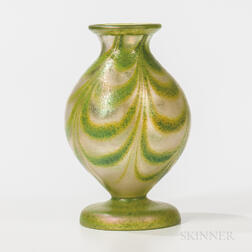 Imperial Art Glass Vase with Green on Clear Dragged Loop Decoration