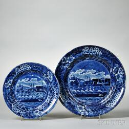 Two Historical Blue Transfer-decorated Staffordshire Landing of Lafayette Plates