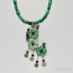 Sterling Silver and Green Hardstone Necklace