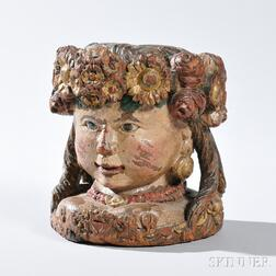Carved Polychrome Painted Head of a Lady