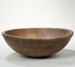 Large Turned Wooden Bowl