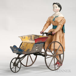 Walking China Doll with Painted Tin Carriage