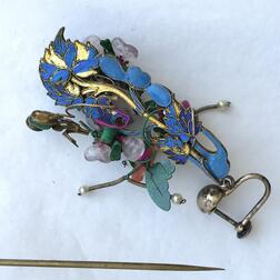 Ornamental Kingfisher Hairpin and Earrings