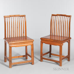 Pair of Elm Spindle-back Chairs