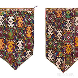 Pair of Silk Uzbek Needlepoint Ilguch