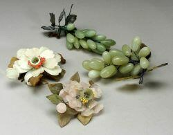 Twenty-five Carved Stone Fruit and Flowers