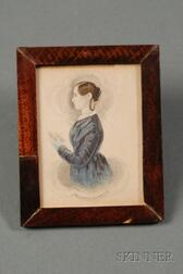James Sanford Ellsworth (American, 1802/03- 1874)      Portrait Miniature of a Woman in Blue Holding a Book.