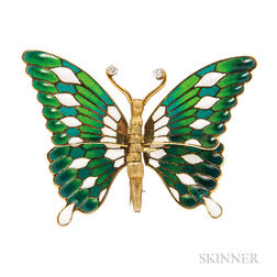 Gold and Plique-a-jour Enamel Butterfly Brooch
