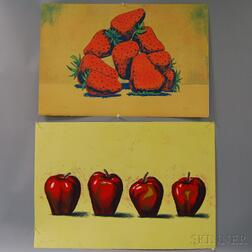 Aaron Fink (American, b. 1955)      Five Color Prints: (Three) Four Apples