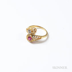 14kt Gold, Diamond, and Red Stone Ring