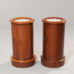Pair of Continental Biedermeier Marble-top Cabinets