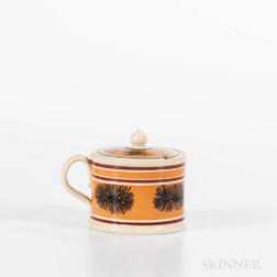"Mocha ""Seaweed"" Decorated Mustard Pot"