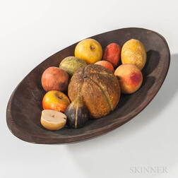 Oval Wooden Bowl with Eleven Stone Fruit