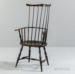 Black-painted Comb-back Armchair