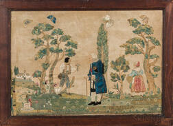 Pictorial Needlework of Figures in Garden