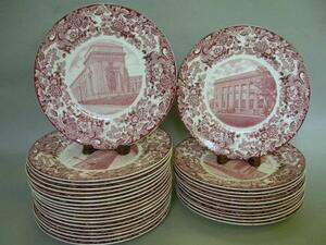 Thirty-one Wedgwood Dark Red and White MIT Transfer Decorated Dinner Plates.