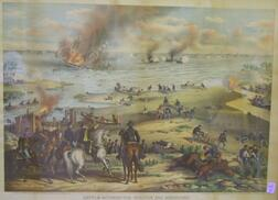 Framed Kurtz & Allison Hand-colored Lithograph Battle Between The Monitor and   Merrimac