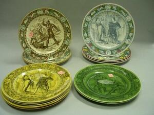 Fourteen Wedgwood Handpainted and Transfer Decorated Ivanhoe Pattern Dinner Plates.