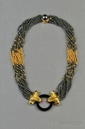 18kt Gold, Hematite, Onyx, and Pink Tourmaline Necklace, Lagos