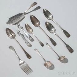 Nine Pieces of Assorted English Sterling Silver Flatware