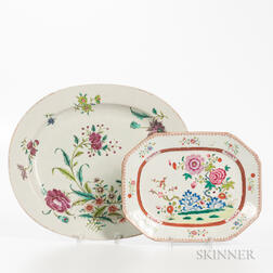 Two Polychrome-decorated Export Porcelain Platters